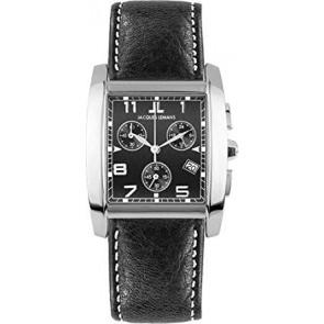 Horlogeband Jacques Lemans 1-1152A Leder Zwart 24mm