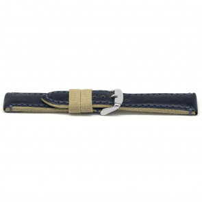 Horlogeband Universeel H628 Leder/Textiel Blauw 22mm