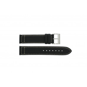 Nautica horlogeband A15535 / A15535G Leder Zwart 20mm + wit stiksel