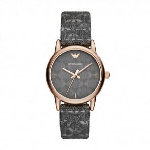 Horlogeband Armani AR1837 Leder/Textiel Grijs 14mm