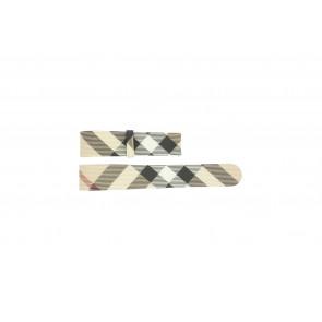 Horlogeband Burberry BU1059 / BU1076 Leder Cream wit / Beige / Ivoor 18mm