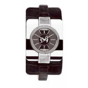 Horlogeband Dolce & Gabbana DW0161 Croco leder Zwart 10mm