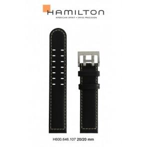 Horlogeband Hamilton H705050 / H001.70.505.733.01 Leder Zwart 20mm