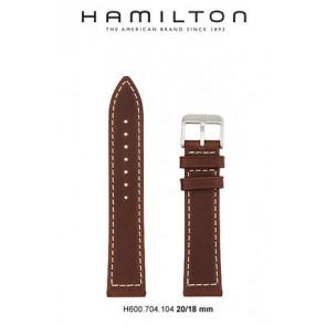 Horlogeband Hamilton H644550 / H001.64.455.533.01 Leder Bruin 20mm