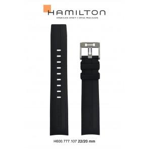 Horlogeband Hamilton H76714335 Rubber Zwart 22mm