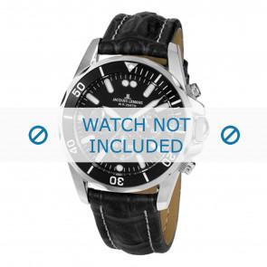 Jacques Lemans horlogeband 1-1907ZA Leder Zwart + wit stiksel