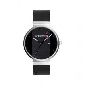 Horlogeband Jacob Jensen JJ702 Rubber Zwart