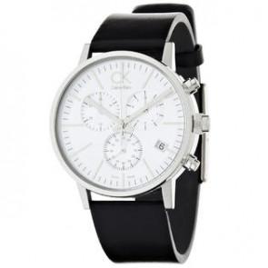 Horlogeband Calvin Klein K7627120 / K7627107 / K600061350 Leder Zwart 22mm