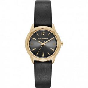 Horlogeband Karl Lagerfeld KL4002 Leder Zwart 16mm