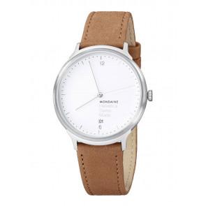 Horlogeband Mondaine MH1.L2210.LG MB20121 / MB20121 Leder Lichtbruin 18mm
