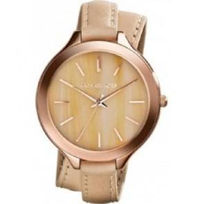 Horlogeband Michael Kors MK2347 Onderliggend Leder Beige 12mm