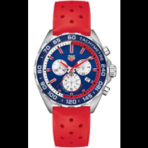 Horlogeband Tag Heuer CAZ101G Rubber Rood 21mm