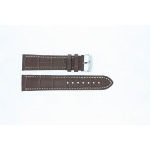Klockarmband i skinn Buffekalv mellanbrun med vit söm 24mm 518