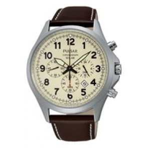 Horlogeband Pulsar VS75-X001 / PX5005X1 Leder Bruin 22mm