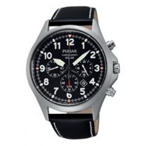 Horlogeband Seiko VS75-X001 / PX5007X1 Leder Zwart 18mm