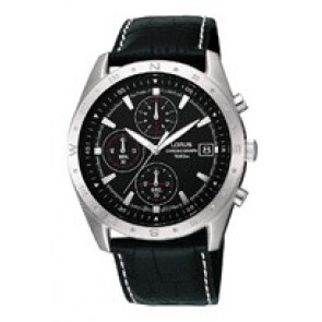 Horlogeband Lorus RM371AX9 / VD57-X015 Leder Zwart 22mm
