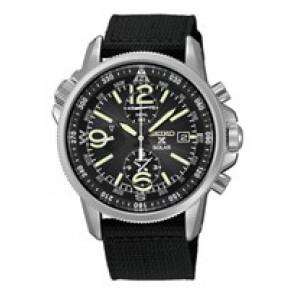 Horlogeband Seiko V172-0AL0 / SSC135P1 Leder/Textiel Zwart