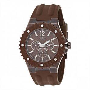 Horlogeband Guess W11619G3 Rubber Bruin 14mm