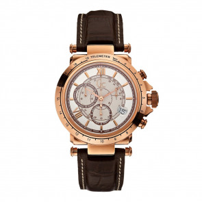 Guess horlogeband X44001G1 / A60005G1/08 Leder Donkerbruin 21mm + wit stiksel