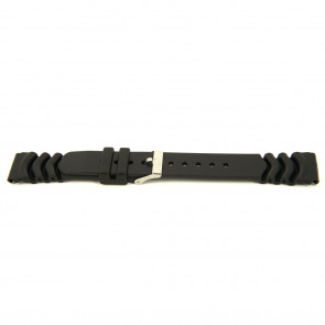 Horlogeband Rubber 18mm Zwart XF11
