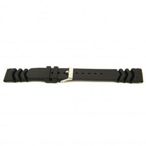 Horlogeband Rubber 22mm Zwart XH11