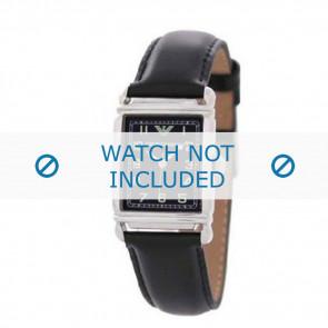 Horlogeband Armani AR0207 / AR0101 / AR0121 / AR5601 / AR0604 Leder Zwart 18mm