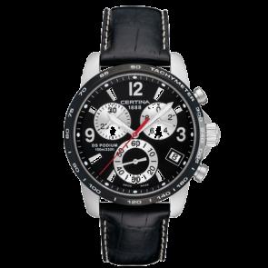 Certina horlogeband C610007730 Leder Zwart 20mm + wit stiksel