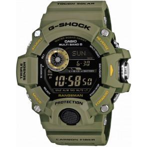Horlogeband Casio GW-9400-3 (10455203 ) Staal/Silicoon Groen 19mm