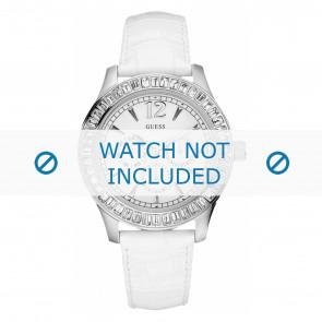 Guess horlogeband W12053L2 Leder Wit 20mm + wit stiksel