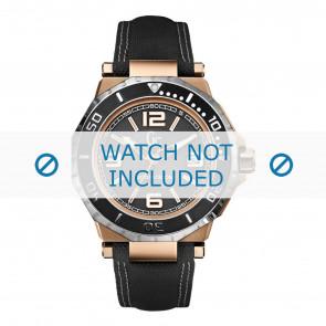 Guess horlogeband X79002G2S Canvas Zwart + wit stiksel