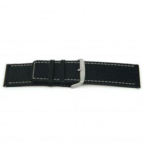 Echt lederen horloge band zwart met wit stiksel 30mm L125