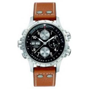 Hamilton horlogeband H77616533 / H600.776.103 Leder Cognac 22mm + wit stiksel