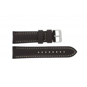 Horlogeband Universeel G038 XL Leder Donkerbruin 20mm