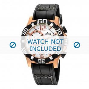 Lotus horlogeband 15535 Leder Zwart + zwart stiksel