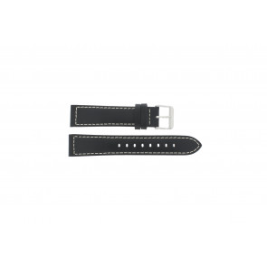 Max horlogeband Z22 Leder Zwart 22mm + wit stiksel