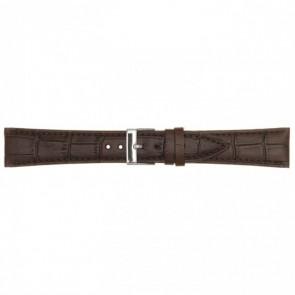 Leren horlogeband donkerbruin 18mm PVK-497