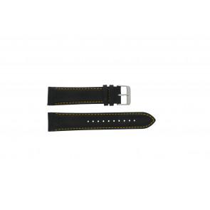 Horlogeband Pulsar VK63-X001 / PU2007X1 / PP077X Leder Zwart 22mm