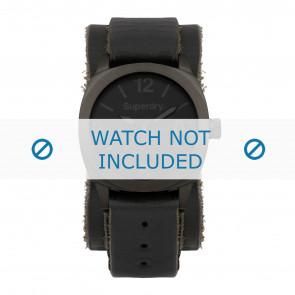 Superdry horlogeband SYG101BB Leder Zwart