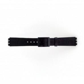 Horlogeband Swatch SC16.01 Leder Zwart 16mm