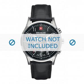 Horlogeband Swiss Military Hanowa 06-4187.04.007 Leder Zwart 22mm